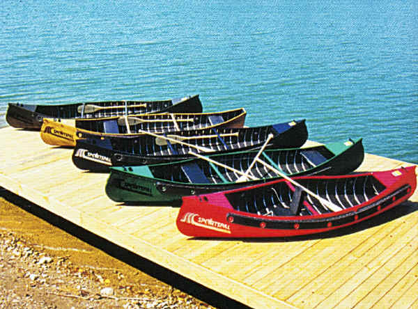 Sportspal Canoe Fleet on the dock in multiple colors